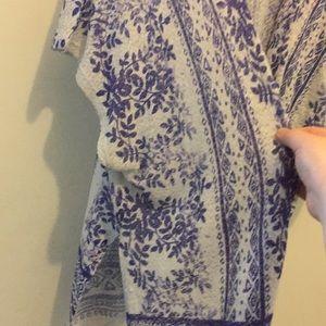 Moa Moa Sweaters - White and Purple Wrap Cardigan